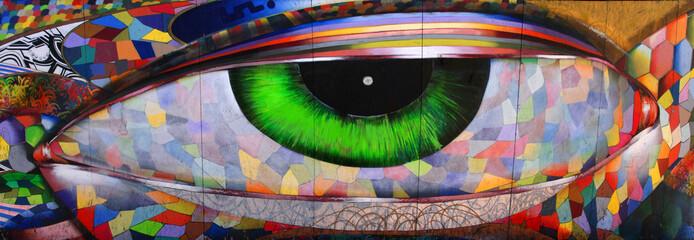 looking eye on brick wall San Francisco