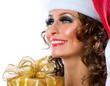 Christmas. Santa girl with Gift box