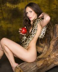 woman with python