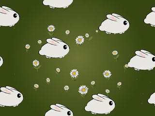 Seamless bunnies pattern