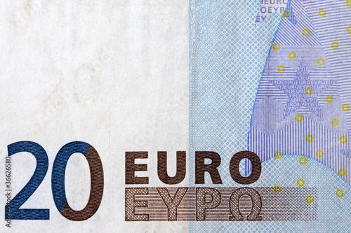 twenty euro banknote detail