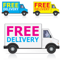 Vector free delivery lorry icons with driver silhouette