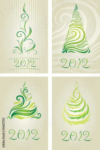 Vector set of decorative cards with Christmas tree