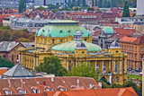 Zagreb rooftops and croatian national theater poster