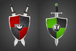 two shields and swords, vector