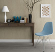 Console table with modern classic chair wood floor and wallpaper