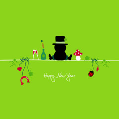 Sitting Chimney Sweeper & Symbols New Year´s Eve