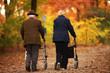 canvas print picture - Rentnerpaar im Herbst