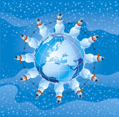snowmen and globe with  europe