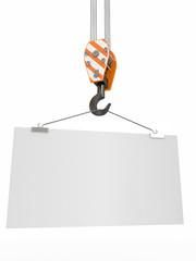 Crane hook with empty board. 3d