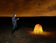 Man and Glowing Stones