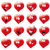 cartoon hearts with many expressions