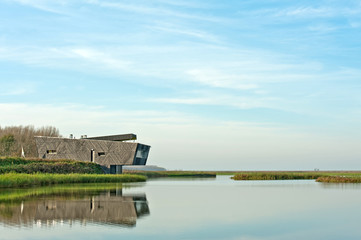 Modern architecture along a lake
