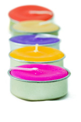 Row of colorful candle