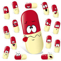 pill cartoon with many expressions isolated on white background