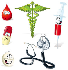 medical symbols with human face isolated