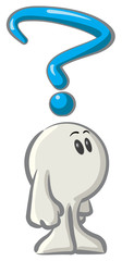 Clipart Illustration of a White Konkee Character Pondering Over