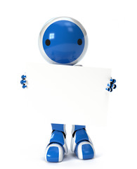 Cute Robot Holding Blank Sign Over Body