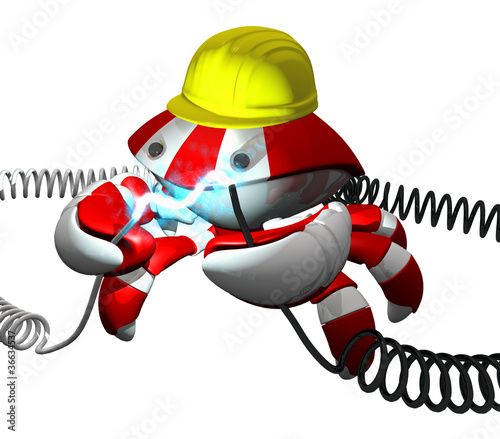 Scutter Crab Robot Repairing Power Cable With Hard Hat