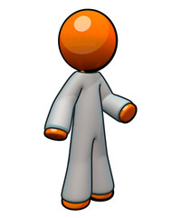 3d Orange Man Wearing Coveralls