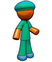 Orange Man Nurse Wearing Scrubs