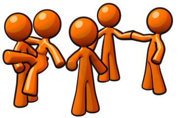 Orange Man Group Team Workers