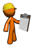 Orange Man Construction Supervisor with Clipboard poster