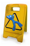 3d Blue Man Yellow Caution Sign