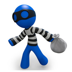 3d Blue Man thief running with bag of loot