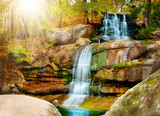 Fototapety Waterfall in forest. Autumn