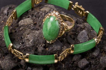 Green imperial Burmese Jade Gold  Ring and Bangle.