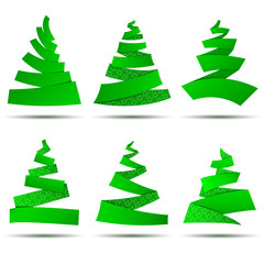 Set of origami Christmas trees