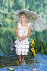 pretty girl with an openwork knitted dress umbrella