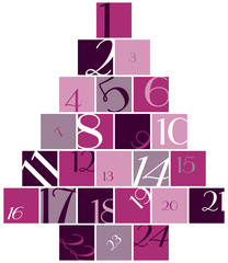 Advent Calendar Numbers Tree Pink/Purple/White