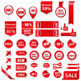 Fototapety Vector red price tags, labels, stickers, arrows and ribbons