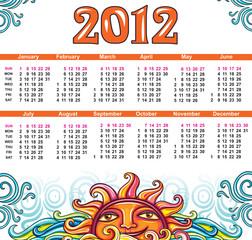 Sun calendar for the 2012