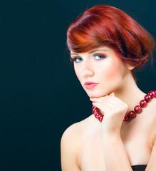 Portraiture of beauty red hair female model girl
