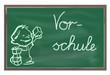 Schultafel mit Kind Vorschule
