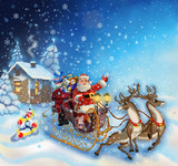 Christmas illustration of Santa Claus in a sleigh with reindeer