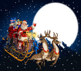 Illustration of Santa Claus in a sleigh with reindeer