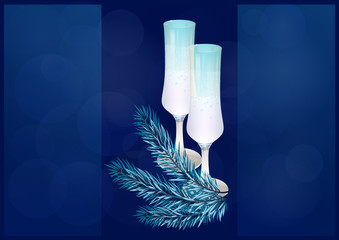 Wine glasses and fir twigs
