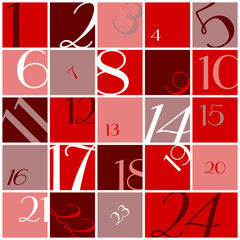 Advent Calendar Numbers Red/White