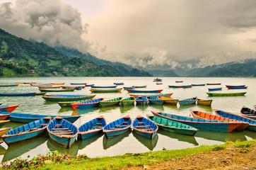 Caique on Phewa lake Pokhara Nepal