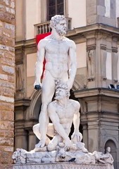 The famous statue of Hercules and Caco in  Florence