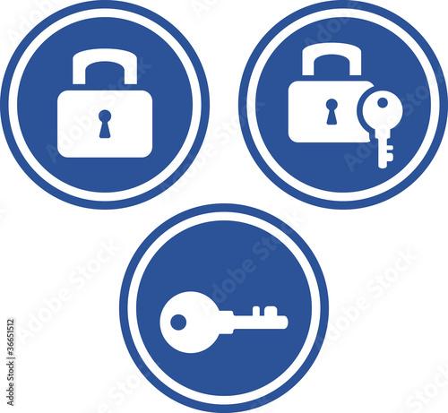 Vektör Padlocks and Keys - Vector icons.