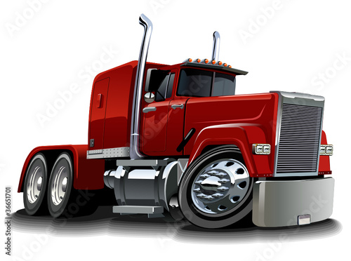 Foto op Canvas Cartoon cars Vector cartoon semi truck