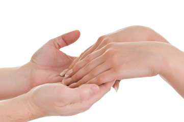 men's hands supporting women's hands