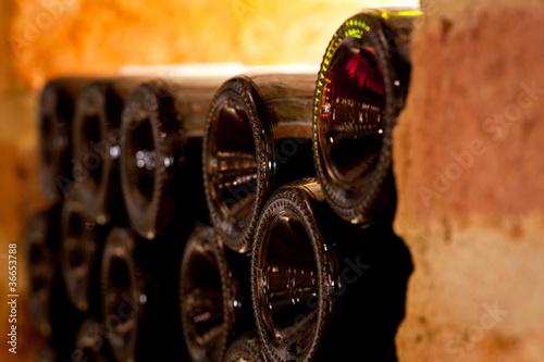 Rotweinflaschen im Weinkeller