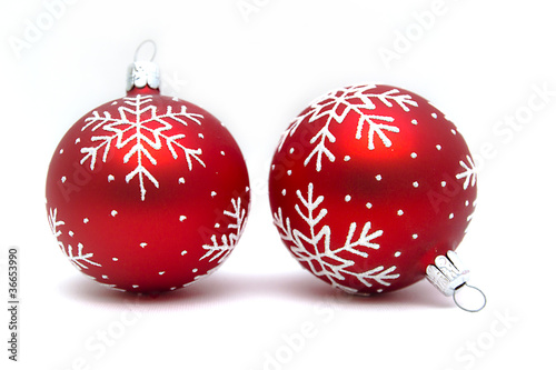 zwei weihnachtskugeln rot mit schneeflocken von felixwald. Black Bedroom Furniture Sets. Home Design Ideas