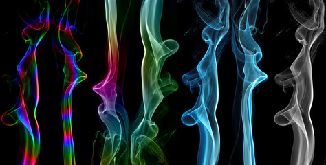 Abstract smoke series, isolated on black